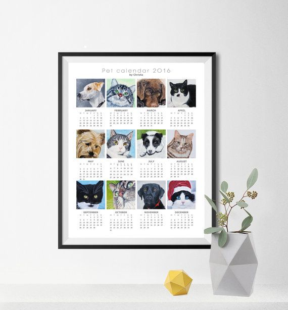 Calendar 2016 print-poster-pet by OilpaintingsChrista on Etsy
