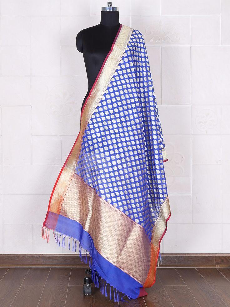 Royal Blue Silk Dupatta