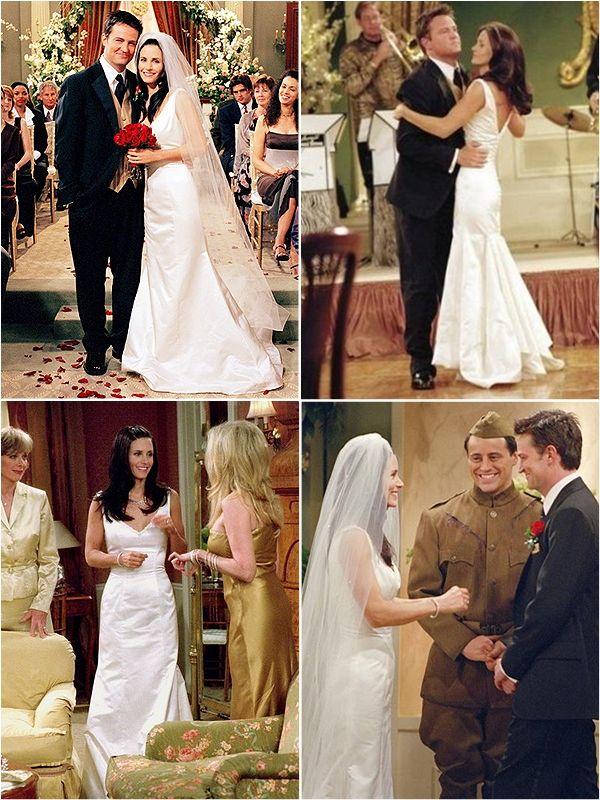 Monica geller39s wedding gown friends pinterest for Friends wedding dress