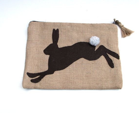 Handmade Embroidered Zipper pouch jute λινάτσα by Apopsis on Etsy