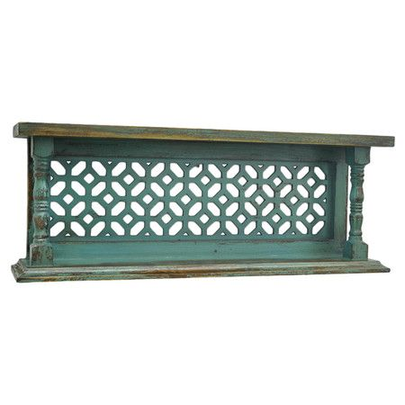 Showcasing an openwork design and a weathered teal finish, this eye-catching wood wall shelf is a lovely addition to your living room or den.