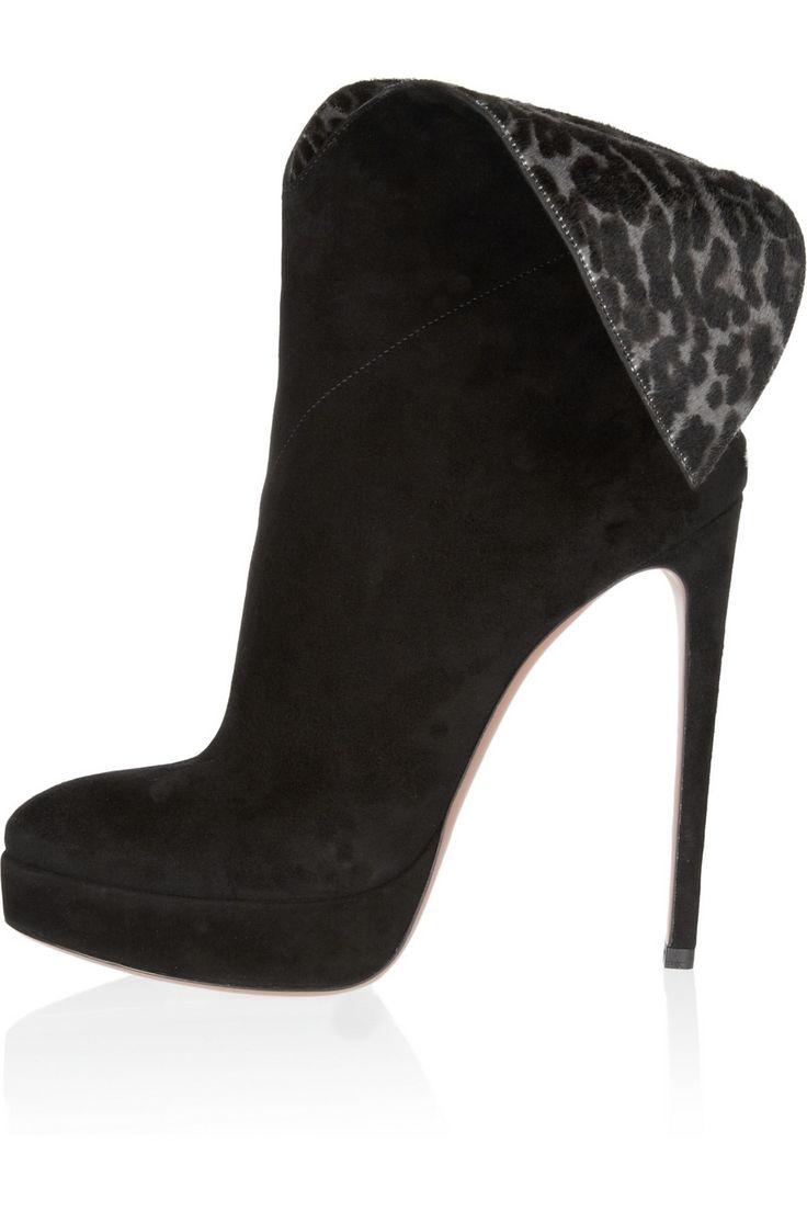 Name: Leila Black Almond Toe Leopard Collar Stiletto Heel Ankle Boots Price: $74.99