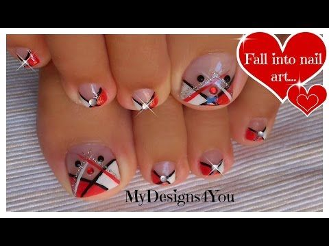 Abstract Toenail Art | Red, Black and White Pedicure ♥ Абстрактный Педикюр - YouTube