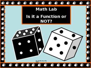 This is an opportunity for students to reinforce and apply newly learned information using this fun, yet practical lab on Functions and Relations. Students may work independently or with a partner rolling a pair of die that represent ordered pairs. The information is then recorded and graphed on a coordinate plane.