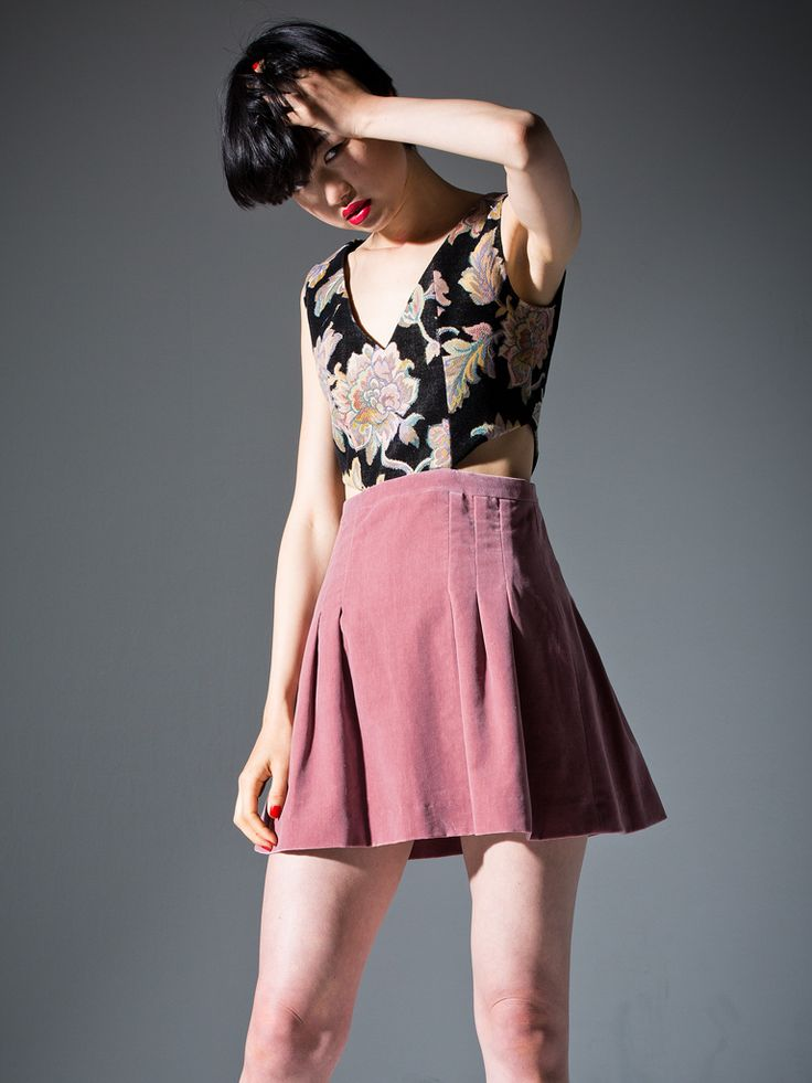 Jacquard and Lavender-pink Velvet mini dress #party #dress