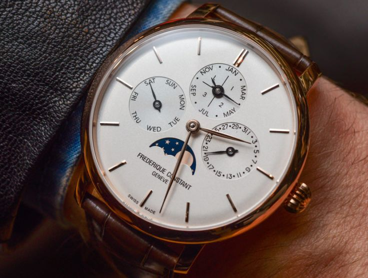 Hands-on review & original photos of the Frédérique Constant Slimline Perpetual Calendar Manufacture watch with price, specs, & analysis.