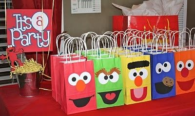 We had an Elmo Birthday Party theme for my son's 2nd Birthday -  Find more Sesame Street party ideas at http://www.birthdayinabox.com/party-ideas/guides.asp?bgs=68