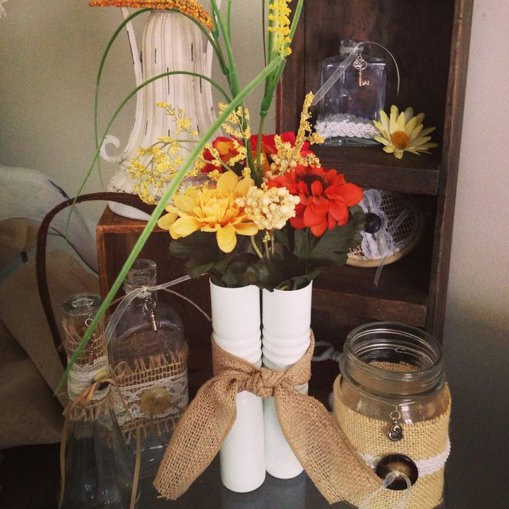 Pinterest Fall Wedding Flowers: Burlap Centerpieces With Fall Flowers