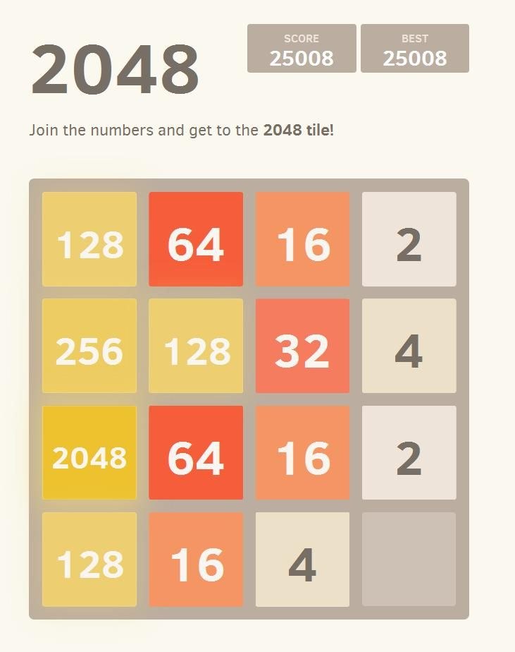 This game is a puzzle game and is very easy to play. Players need to match up tiles with the same numbers which merges into one tile giving a larger or double number of the tiles that have been merged. You use your arrow keys to move your tiles, and each time you move your tiles, a new number tile pops up on the board...Play Now 2048.biz/