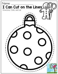 I Can Cut on the Lines- Great for a simple activity that involves fine motor and hand-eye coordination practice. You could also use this for as a decoration on a Christmas present!