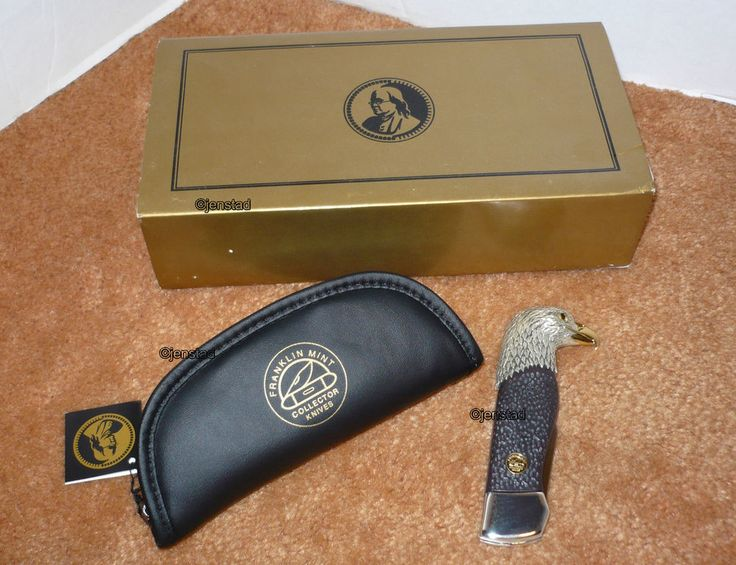 "KING OF THE SKIES FRANLKIN MINT COLLECTORS KNIVES FOLDING 7.5""SILVER EAGLE KNIFE #FranklinMint"