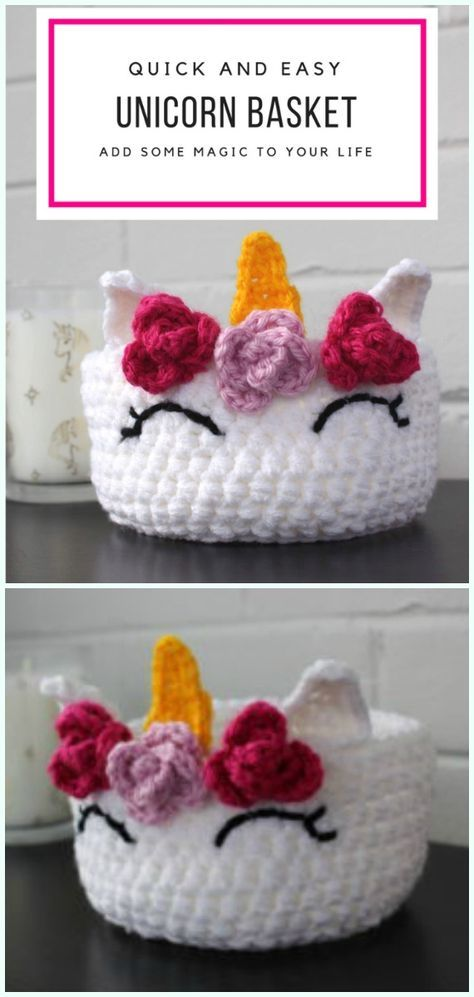 Quick and Easy Unicorn Basket Free Crochet Pattern – Storage #Basket; Free #Cro…