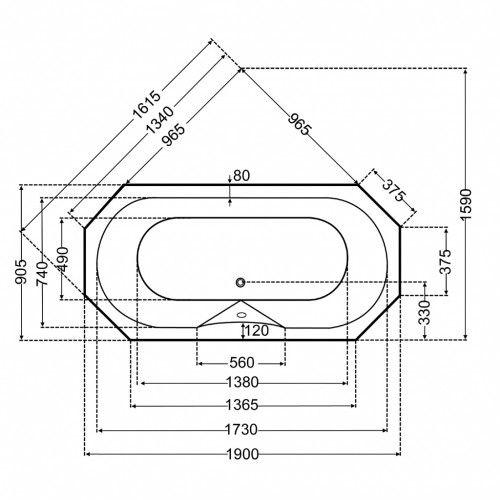 Achteck Badewanne 190 x 90 cm, extra Tiefe: 50 cm [2/3]
