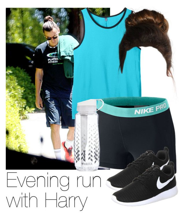 """""""Evening run with Harry"""" by style-with-one-direction ❤ liked on Polyvore featuring NIKE, Brita, women's clothing, women, female, woman, misses, juniors, OneDirection and harrystyles"""