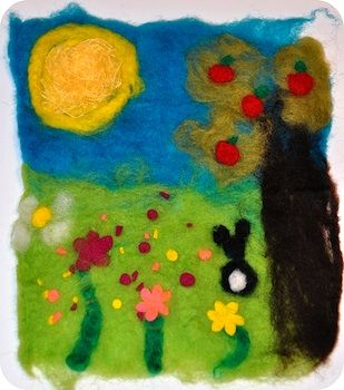 Beginning Felting with Kids: 8 Felted Wool Crafts (Rosy~Posy). http://rosinahuber.blogspot.com/2011/04/painting-with-wool-wet-felting.html