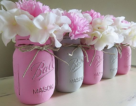 Pink and Gray Distressed Mason Jars Wedding by MyHeartByHand