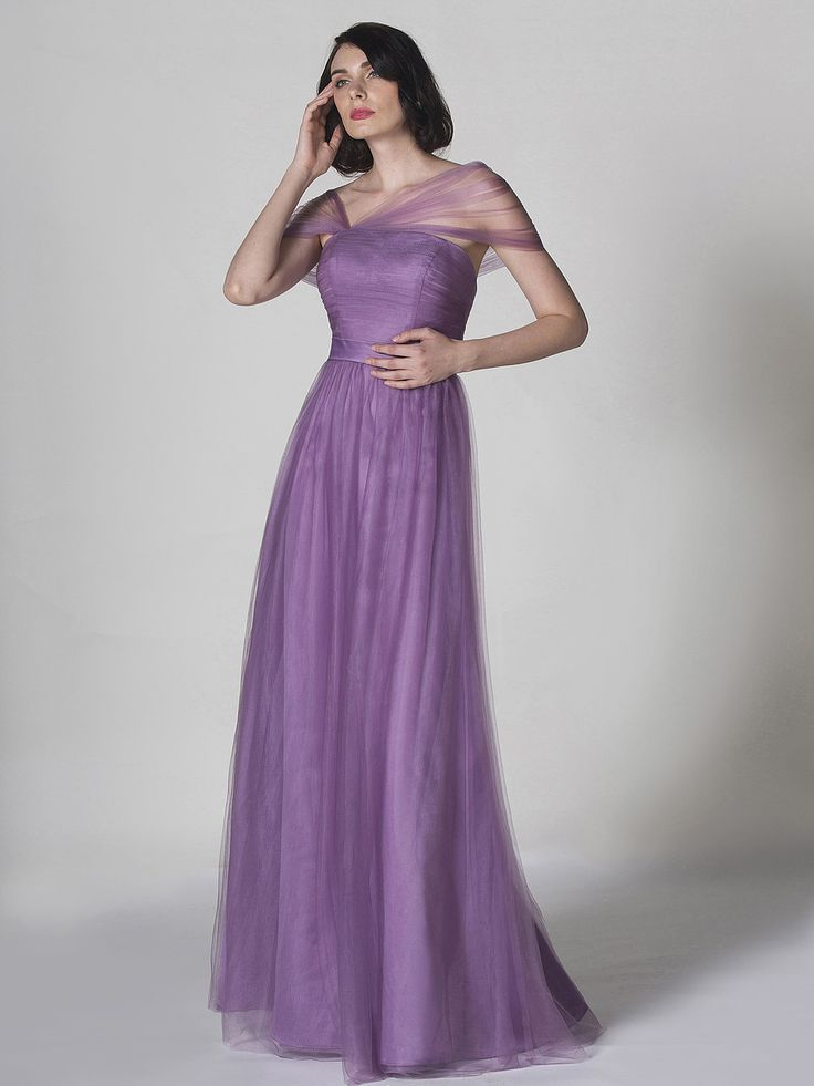 Asymmetrical Sleeves Tulle Dress
