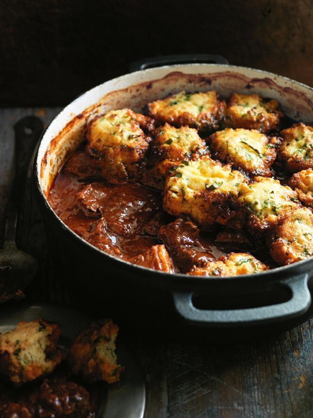 smoky chili braised beef with cornbread dumplings >> DonnaHay.com. the ...