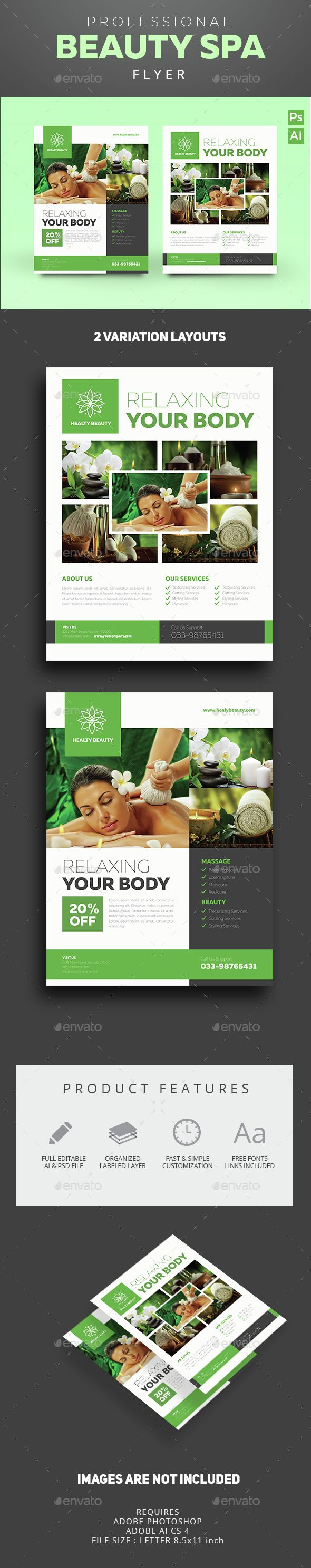 Beauty & Spa Flyer Template PSD, Vector AI. Download here: http://graphicriver.net/item/beauty-spa-flyer/14635119?ref=ksioks