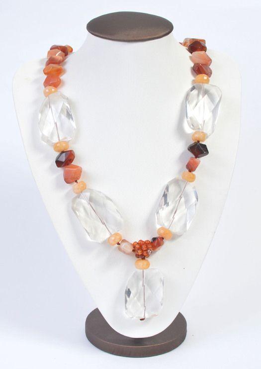 Ожерелье из горного Хрусталя и Сердолика, авторская работа Чародійка