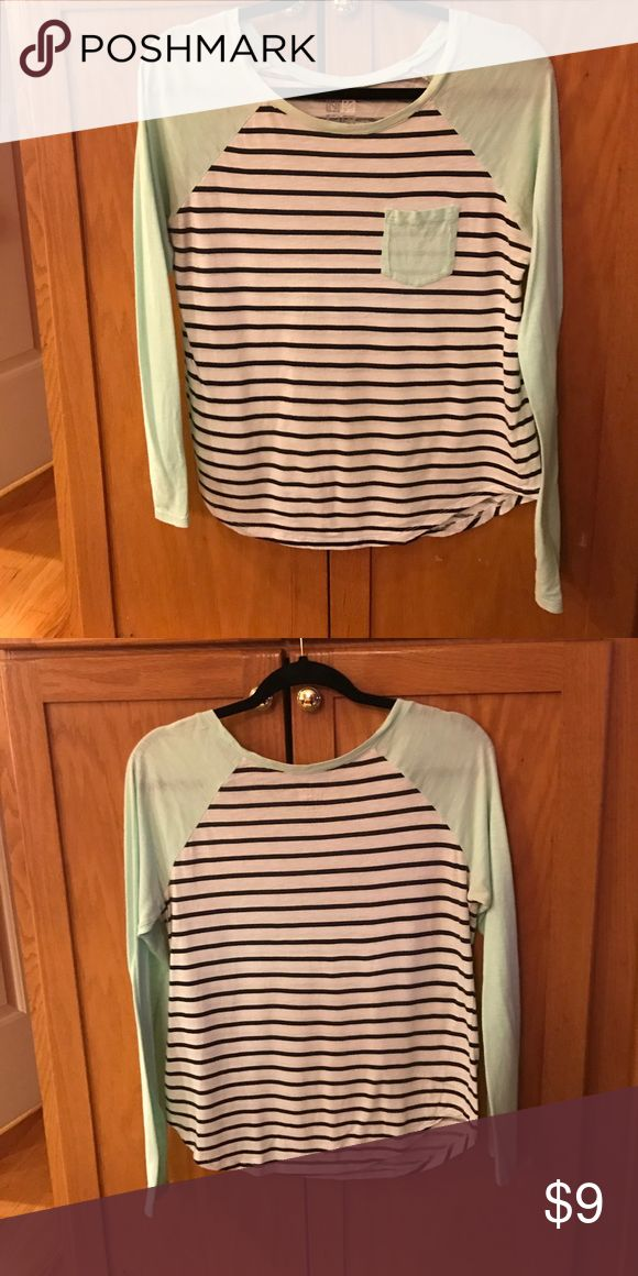 PAC Sun Mint Shirt with Black and White Stripes PAC Sun shirt with mint sleeves and pocket, and black and white torso. Worn a little but in good condition. No holes, stains, or smells! PacSun Tops Tees - Long Sleeve