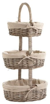 Three-Tiered Lined Basket Tower - perfect for makeup, jewelry etc.