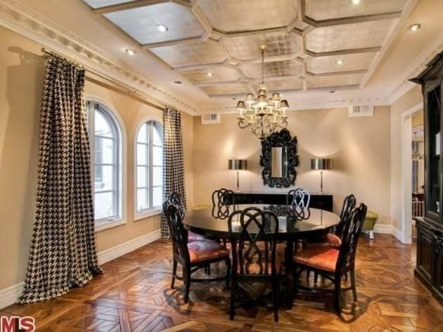 Tori Spelling's Encino Home: Formal Dining Room...  I really like this Palette...The Wall Color is PERFECT! The Room is GRAND without having a sign on it saying 'GRAND'!