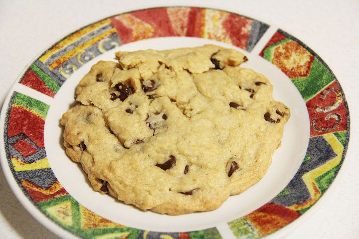 """I made this recipe- and I made it a little healthier. I used wheat flour, """"buttery spray"""", and brown granulated sugar. IT WAS AMAZING. It actually makes two regualr size cookies, or you can make one giant one like the one in the picYure... enjoy!"""