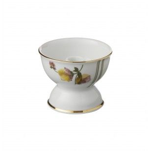 Porcelain candle holder with Flowers and gold print