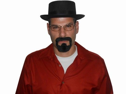 """Breaking Bad Heizenberg Kit - Channel your inner chemist and pick up the Breaking Bad Heizenberg kit complete with the stylish Pork Pie hat, glasses and goatee. We all know what Heizenberg was into, and if you just want to """"break bad"""" for one night, this is the best way to do it. Chemist, teacher, and kingpin all rolled into one infamous television character. #breakingbad #yyc #costume #hat #classic"""