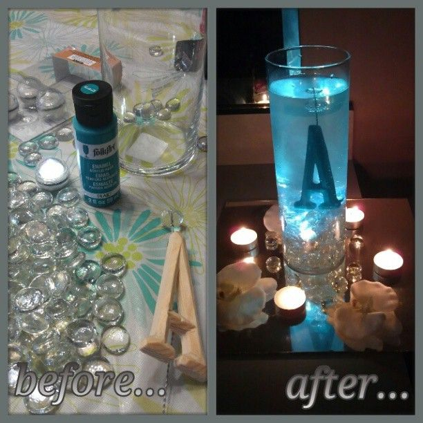 """Got the idea from a pin I saw awhile back. So I decided to give it a try! Wanted to use numbers but couldn't find any at the store so I used the letter """"A"""" for my future last name. Used aqua colored paint or you can use any color you like. Used clear glass vase beads, 2 water-resistant LED lights, wire to keep the letter upright, and a cylinder vase, about 10.5 inches tall."""