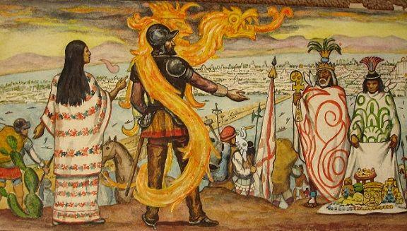 Hernán Cortés junto a Malinche en su encuentro con Moctezuma II