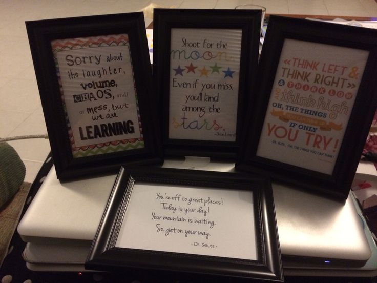 Inspirational Frames- these were do cheap and easy to make. Can be changed up for special events eg: Mother's Day, Fathers Day, Christmas.