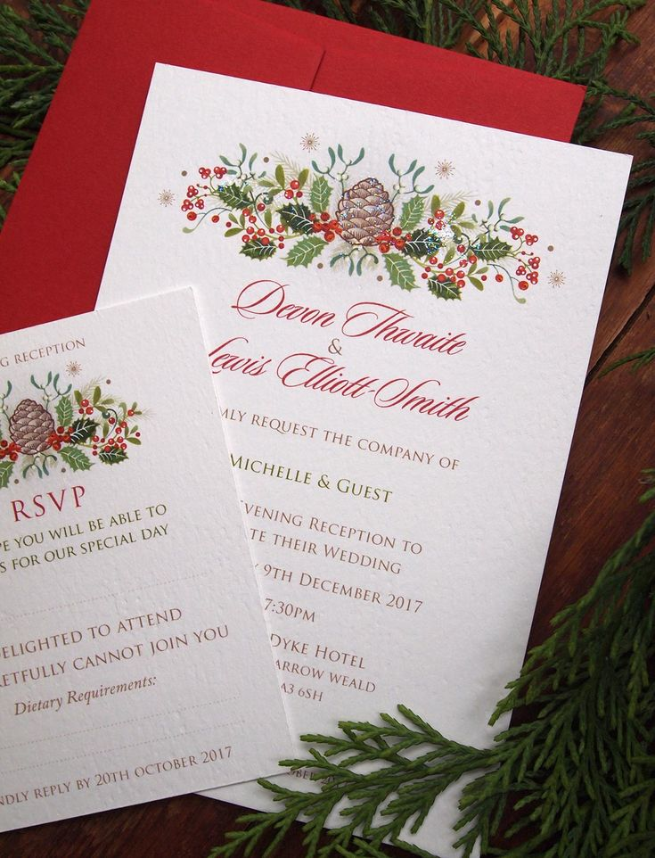 how to put guest names on wedding invitations%0A Holly Berries  Christmas themed wedding invitations