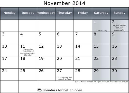 November 2014 Calendar Printable & Template http://www.calendarvip.com/november-calendar.html