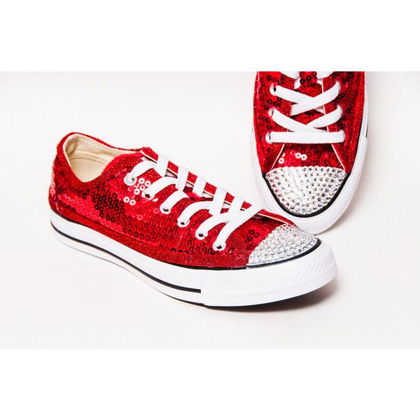 Sequin Red Canvas Customized Converse Low Top Sneakers Tennis Shoes... ($125) ❤ liked on Polyvore featuring shoes, sneakers, silver, sneakers & athletic shoes, tie sneakers, women's shoes, glitter tennis shoes, tennis trainer, red glitter shoes and red sparkly shoes