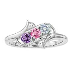 Mother's Simulated Birthstone Ring in Sterling Silver (3 Stones)