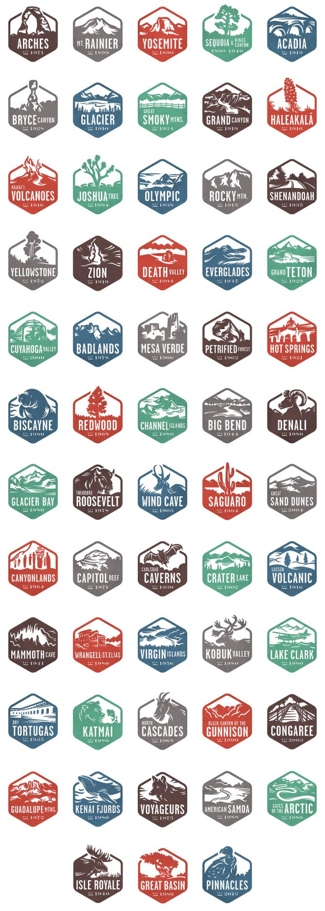 National Park Stamps - Valerie Jar / Design + Illustration
