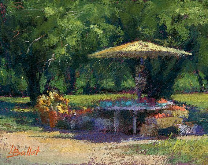 Girasoles de la granja soporte pastel pintura estudio Original Pastel, arte impresionismo sin marco, verano, decoración de la pared, regalo del artista