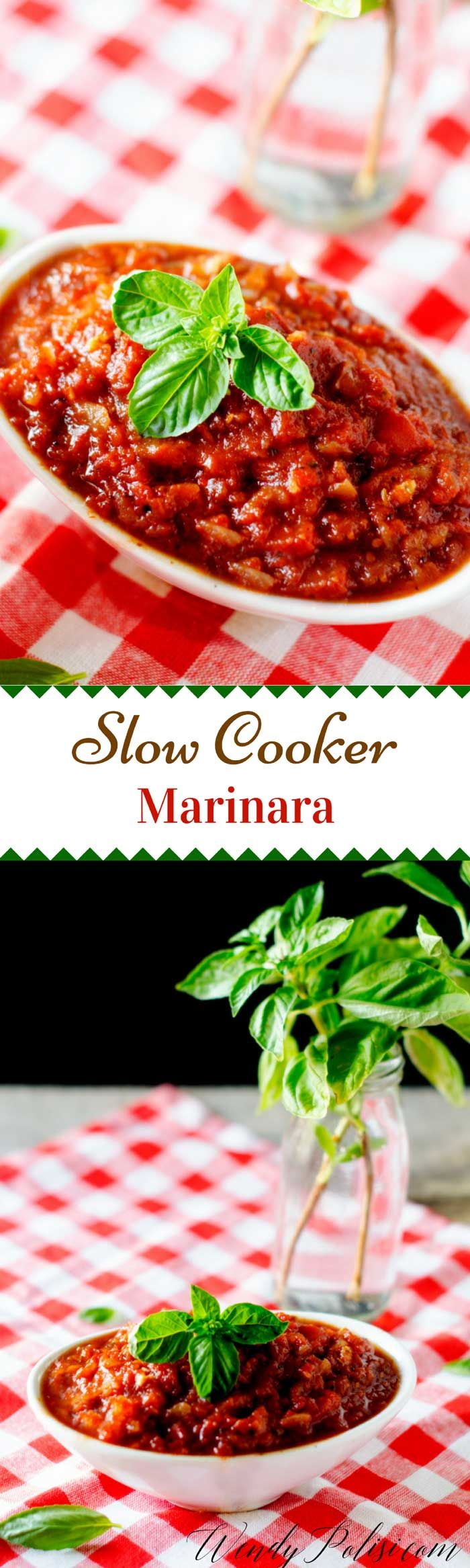 This is simply the best Slow Cooker Marinara!  It is perfect for an easy meal at the end of a busy day.  You can also freeze it to have it on hand when you need it. via @wendypolisi