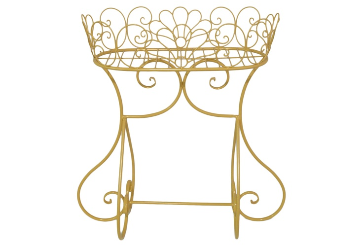 Yellow Oval Metal Plant Stand