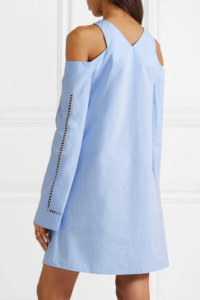 ZeusDione - Anemone Cold-shoulder Wrap-effect Cotton-poplin Mini Dress - Sky blue - FR42