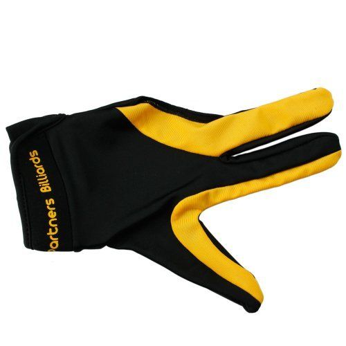 Elastic Nylon Cue Billiard Pool Shooters 3 Fingers Gloves (Yellow, L/XL) by Crazy. $4.19. Features: 1. Made of high quality material 2. Increased   shot and cue control 3. Fits only for the left hand 4. This billiard   gloves are for all billiard players, men or women, amateurs or professionals 5. Elastic wrist band does not crimp or bunch 6. Easy to clean 7. It is a good choice Specifications: Material:   Nylon Package Includes: 1 x Shooters 3 Fingers Gloves