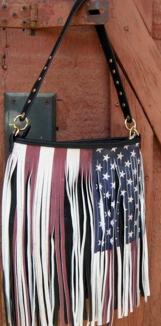 Fringed American Flag Purse Tote Studs Front Back Fringe Boho Cow Usa Beautiful Western Purses Pinterest And Bags