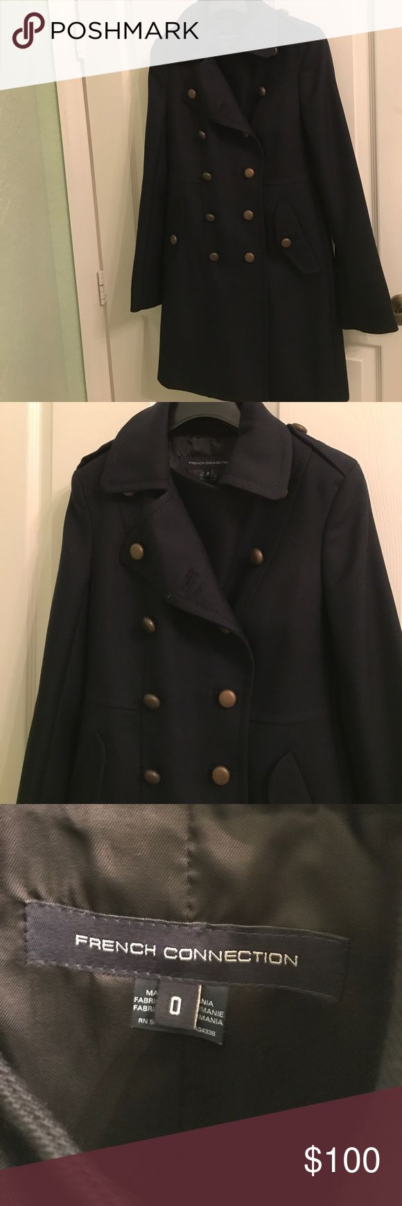 French Connection Navy Blue Military Style Coat NWOT French Connection Jackets & Coats Pea Coats