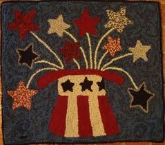Polly Minick hooked rugHooks Rugs I M, Polly Minick, Hooks Rugs Repin, Fireworks Rugs, Rugs Hooks, Minick Hooks, Design Rugs, Minick Design, Americana Hats