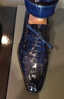 $11950 santoni shoes crocodile in navy blue