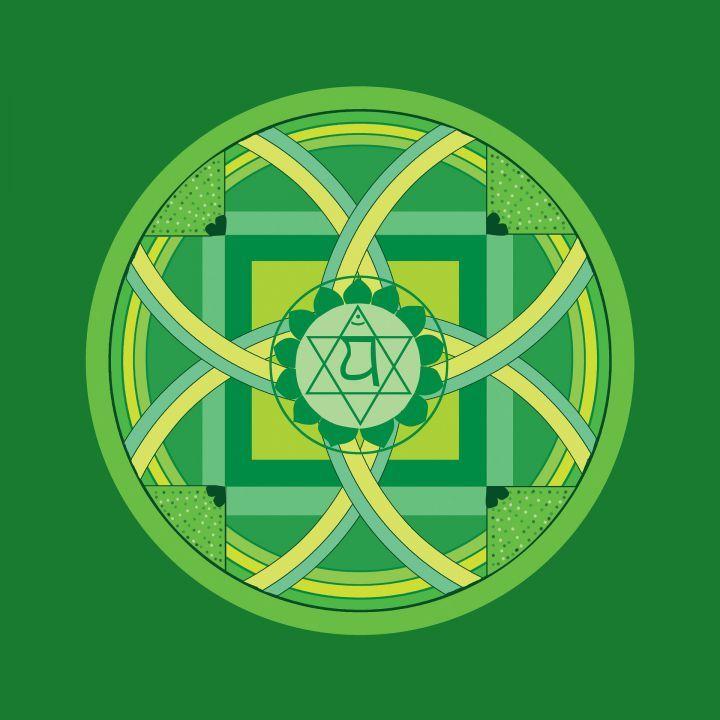 """Čtvrtá čakra lásky a moudrosti, """"Anahata"""", představuje energii srdce, vnímání života skrze srdeční centrum, vnímání pravdy.Spojuje člověka s vnějším světem"""