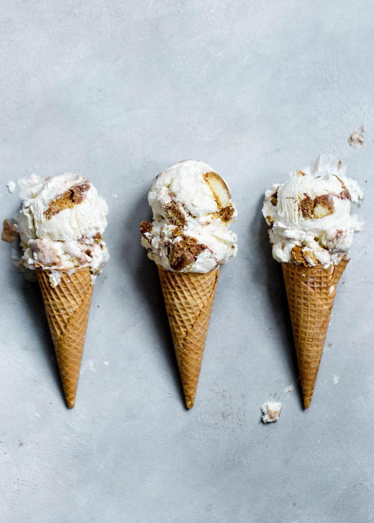 Tiramisu Ice Cream: a mascarpone ice cream with coffee-soaked ladyfingers and fudge swirl!