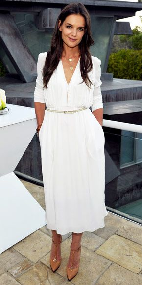 Wish i was brave enough to wear a white dress: Calvin Klein, Katie Holmes, Summer Dresses, Fashion, Shift Dresses, Classic White, The Dresses, White Dresses, Katy Holmes